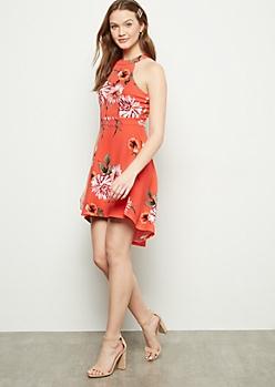 Coral Floral Print Cutout High Low Skater Dress