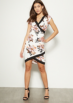 Ivory Floral Print Ruched Side Bodycon Dress