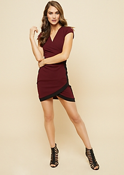 Burgundy Ruched Side Wrap Bodycon Dress