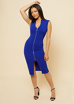 Blue Full Zip Bodycon Dress