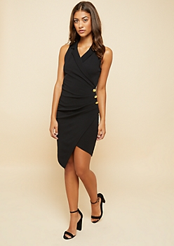 Black Ruched Sleeveless Blazer Dress
