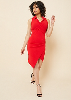 Red Ruched Sleeveless Blazer Dress