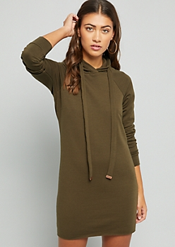 Olive Fleece Lined Hoodie Dress
