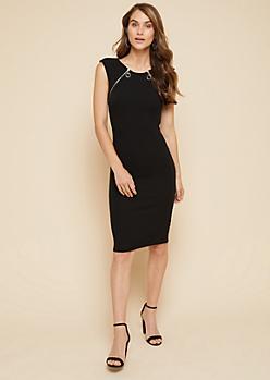 Black Textured Double Zipper Bodycon Midi Dress