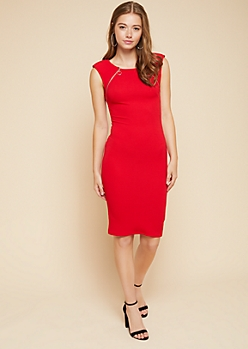 Red Textured Double Zipper Bodycon Midi Dress