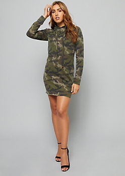 Camo Print Fitted Hooded Dress