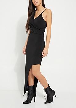 Black Draped Asymmetrical Maxi Dress