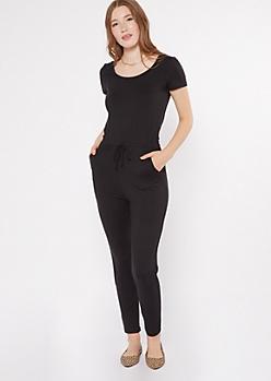 Black Drawstring Waist Cap Sleeve Jumpsuit