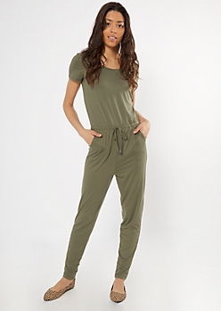 Olive Drawstring Waist Cap Sleeve Jumpsuit