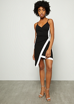 Black Surplice Side Striped Asymmetrical Mini Dress