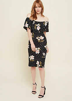 Black Dotted Floral Print Ruffled Dress