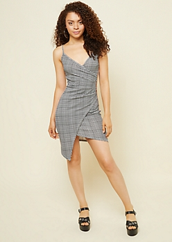 Black Houndstooth Varsity Stripe Wrap Dress