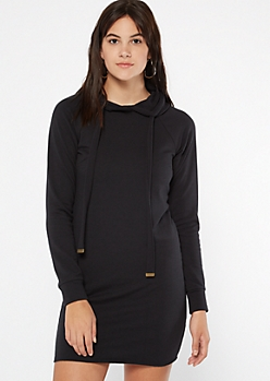 Black Fleece Hooded Dress