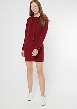 Burgundy Fleece Hooded Dress