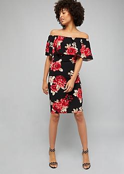 Black Floral Print Off The Shoulder Flounce Dress