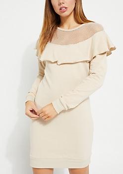 Ivory Ruffle Mesh Insert Sweatshirt Dress