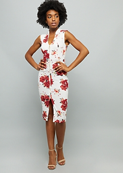 Ivory Floral Print Sleeveless Zip Front Crepe Midi Dress