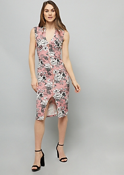 Pink Floral Print Sleeveless Zip Front Crepe Midi Dress