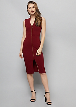 Burgundy Sleeveless Zip Front Crepe Midi Dress