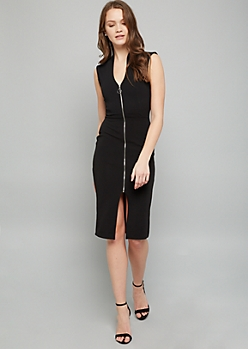 Black Sleeveless Zip Front Crepe Midi Dress