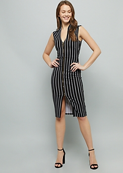 Black Striped Sleeveless Zip Front Crepe Midi Dress