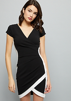 Black Surplice Side Striped Crepe Mini Dress