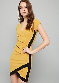 Mustard Surplice Side Striped Crepe Mini Dress