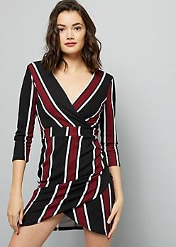 Burgundy Striped Ruched Wrap Mini Dress