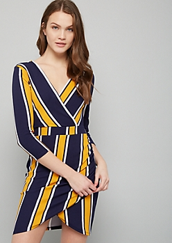Navy Striped Ruched Wrap Mini Dress