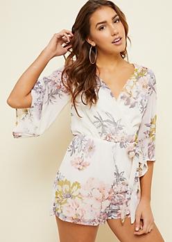 Ivory Floral Print Kimono Sleeve Chiffon Romper