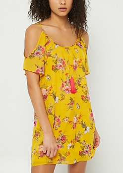 Dark Yellow Floral Cold Shoulder Dress & Necklace Set