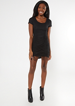 Black Ribbed Ruched Drawstring Bodycon Dress