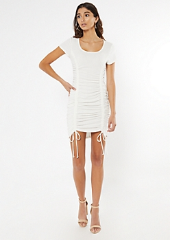 White Ribbed Ruched Drawstring Bodycon Dress