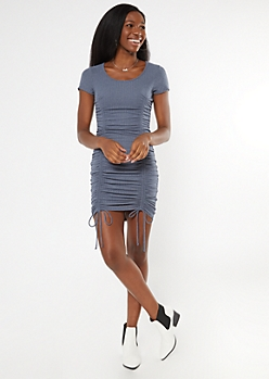 Heather Blue Ribbed Ruched Drawstring Bodycon Dress