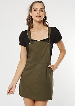 Olive Twill Knot Strap Overall Dress