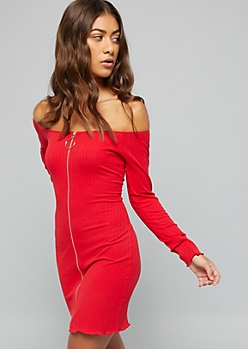 Red Zip Off The Shoulder Ribbed Knit Dress
