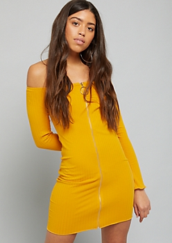 Mustard Zip Off The Shoulder Ribbed Knit Dress
