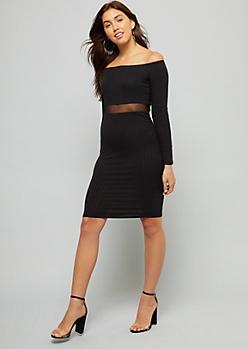 Black Off the Shoulder Mesh Panel Dress
