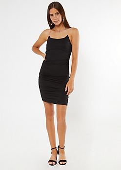 Black Clear Strap Ruched Mini Dress