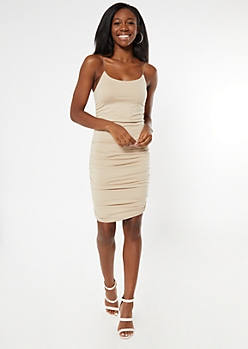 Tan Clear Strap Ruched Mini Dress