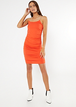 Coral Clear Strap Ruched Mini Dress