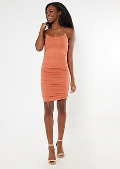 Orange Clear Strap Ruched Mini Dress