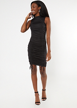Black Mock Neck Ruched Drawstring Mini Dress