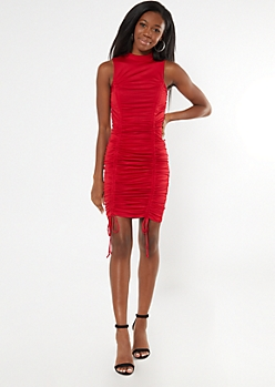 Red Mock Neck Ruched Drawstring Mini Dress