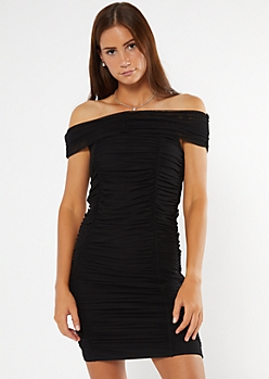 Black Mesh Off The Shoulder Ruched Mini Dress