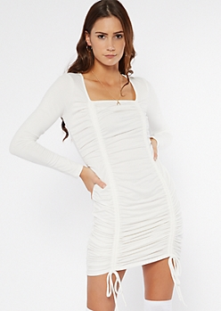 White Ruched Drawstring Long Sleeve Mini Dress