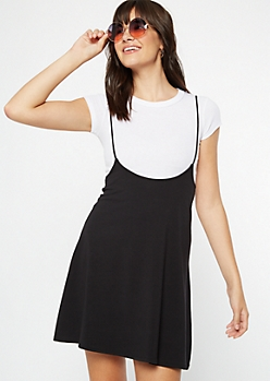 Black Knit Flare Overall Dress