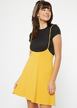 Mustard Knit Flare Overall Dress