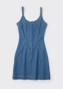 Medium Wash Detachable Strap Denim Dress