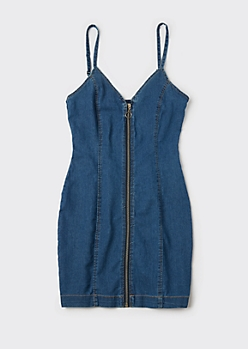 Medium Wash Front Zip Denim Dress